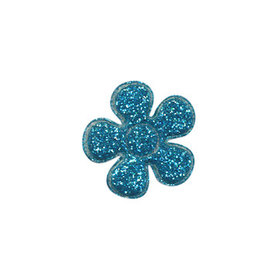 Applicatie glitter bloem blauw klein 20 mm (ca. 100 stuks)