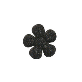 Applicatie glitter bloem zwart klein 20 mm (ca. 100 stuks)