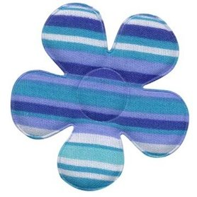 Applicatie bloem gestreept blauw groot 45 mm (ca. 100 stuks)