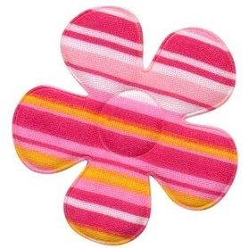 Applicatie bloem gestreept roze groot 45 mm (ca. 100 stuks)