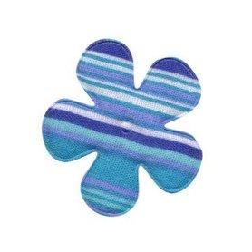 Applicatie bloem gestreept blauw katoen middel 35 mm (ca. 100 stuks)