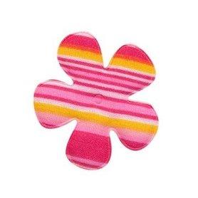 Applicatie bloem gestreept roze katoen middel 35 mm (ca. 100 stuks)