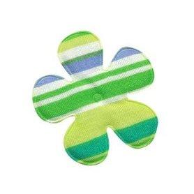 Applicatie bloem gestreept groen katoen middel 35 mm (ca. 100 stuks)