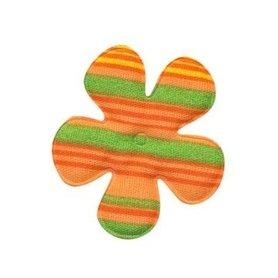 Applicatie bloem gestreept oranje katoen middel 35 mm (ca. 100 stuks)