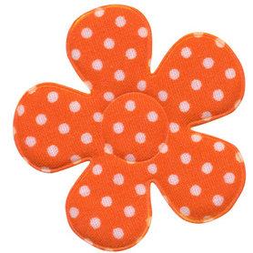 Applicatie bloem oranje met witte stippen katoen groot 45 mm (ca. 100 stuks)