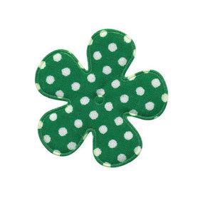 Applicatie bloem donker groen met witte stip katoen middel 35 mm (ca. 100 stuks)