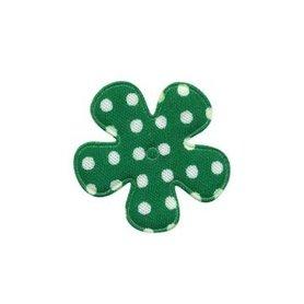 Applicatie bloem donker groen met witte stippen katoen klein 25 mm (ca. 100 stuks)