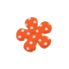 Applicatie bloem oranje met witte stippen katoen klein 25 mm (ca. 100 stuks)