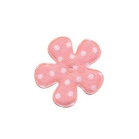 Applicatie bloem zalmroze met witte stippen katoen klein 25 mm (ca. 100 stuks)