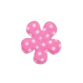 Applicatie bloem zacht roze met witte stippen katoen klein 25 mm (ca. 100 stuks)