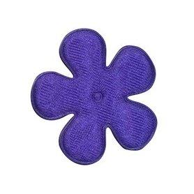 Applicatie bloem satijn kobalt blauw effen middel 35 mm (ca. 100 stuks)