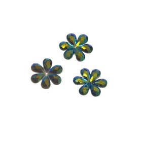 Flatback glitter bloem zwart klein 10 mm (100 stuks)