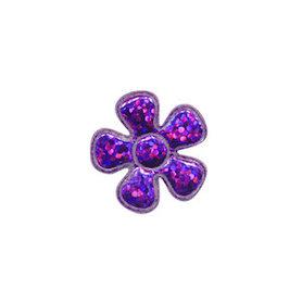 Applicatie glitter bloem paars klein 20 mm (ca. 100 stuks)