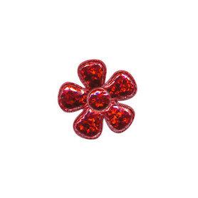 Applicatie glitter bloem rood klein 20 mm (ca. 100 stuks)