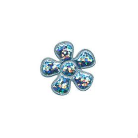 Applicatie glitter bloem licht blauw klein 20 mm (ca. 100 stuks)