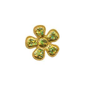 Applicatie glitter bloem goud klein 20 mm (ca. 100 stuks)
