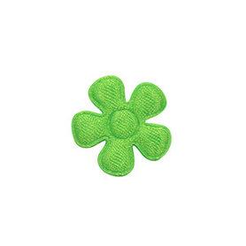 Applicatie bloem NEON groen satijn effen klein 20 mm (ca. 100 stuks)