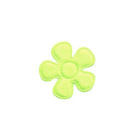 Applicatie bloem NEON geel satijn effen klein 20 mm (ca. 100 stuks)