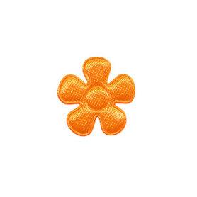 Applicatie bloem NEON oranje satijn effen klein 20 mm (ca. 100 stuks)