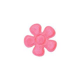 Applicatie bloem NEON roze satijn effen klein 20 mm (ca. 100 stuks)