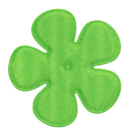 Applicatie bloem NEON groen satijn effen EXTRA GROOT 65 mm (ca. 100 stuks)