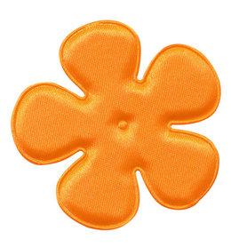 Applicatie bloem NEON oranje satijn effen EXTRA GROOT 65 mm (ca. 100 stuks)