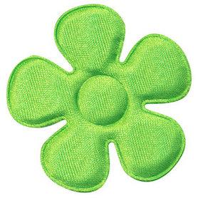 Applicatie bloem NEON groen satijn effen groot 45 mm (ca. 100 stuks)
