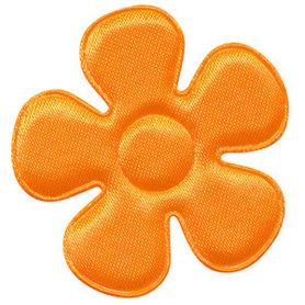Applicatie bloem NEON oranje satijn effen groot 45 mm (ca. 100 stuks)
