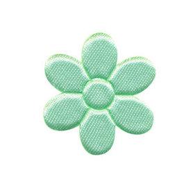 Applicatie bloem mintgroen satijn effen middel 30 mm (ca. 100 stuks)
