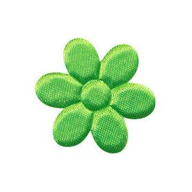 Applicatie bloem NEON groen satijn effen middel 30 mm (ca. 100 stuks)