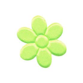 Applicatie bloem NEON geel satijn effen middel 30 mm (ca. 100 stuks)