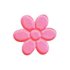 Applicatie bloem NEON roze satijn effen middel 30 mm (ca. 100 stuks)