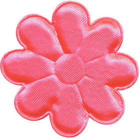 Applicatie bloem NEON roze satijn effen groot 50 mm (ca. 100 stuks)