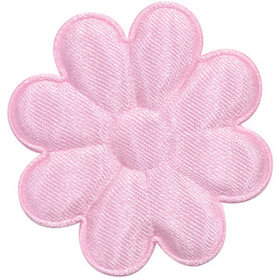 Applicatie bloem licht roze satijn effen groot 50 mm (ca. 100 stuks)