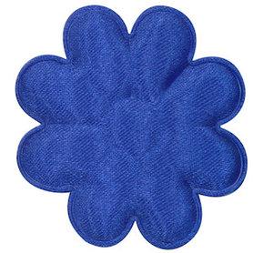 Applicatie bloem kobalt blauw satijn effen groot 50 mm (ca. 100 stuks)