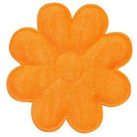 Applicatie bloem NEON oranje satijn effen groot 50 mm (ca. 100 stuks)