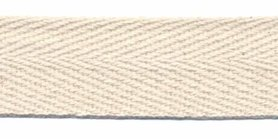 Ongebleekt katoen keperband 25 mm (ca. 45 m)