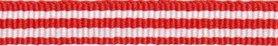 Rood-wit streep grosgrain/ribsband 10 mm (ca. 25 m)