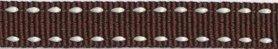 Bruin-wit stippel grosgrain/ribsband 10 mm (ca. 25 m)