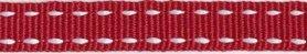 Bordeaux-wit stippel grosgrain/ribsband 10 mm (ca. 25 m)