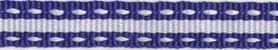 Kobalt blauw-wit stippel/streep grosgrain/ribsband (ca. 25 m)