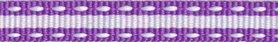 Paars-wit stippel/streep grosgrain/ribsband (ca. 25 m)