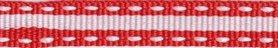 Rood-wit stippel/streep grosgrain/ribsband (ca. 25 m)
