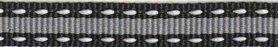 Zwart-grijs-wit stippel/streep grosgrain/ribsband 10 mm (ca. 25 m)