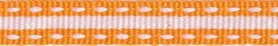 Oranje-wit stippel/streep grosgrain/ribsband 10 mm (ca. 25 m)