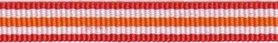 Rood-wit-oranje streep grosgrain/ribsband 10 mm (ca. 25 m)