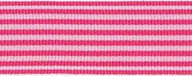 Fuchsia-wit streepband 27 mm (ca. 45 m)