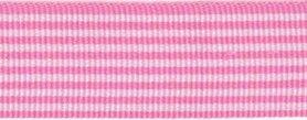 Licht roze-wit streepband 27 mm (ca. 45 m)