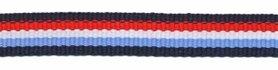 Donker blauw-rood-wit-licht blauw streep grosgrain/ribsband 10 mm (ca. 25 m)