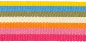 Geel-blauw-groen-creme-oranje-roze-fuchsia streep grosgrain/ribsband 30 mm (ca. 45 m)